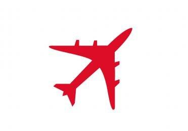 Pictogramme d'un avion rouge. Format JPEG
