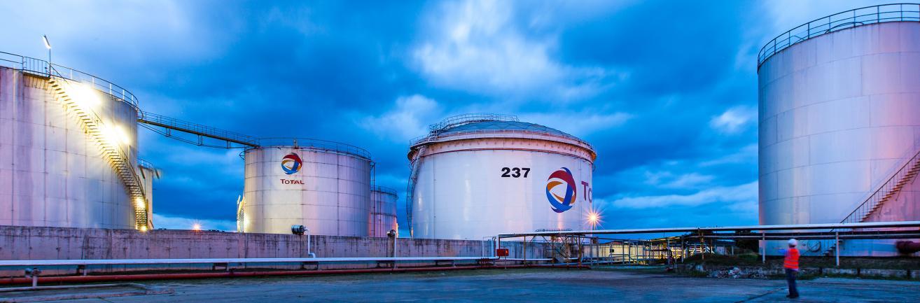 Plan sur les installations du centre dépôt de Beira au Mozambique, avec plusieurs réservoirs de stockage.
